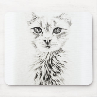 White Cat face drawing of pet portrait cat Mouse Pad