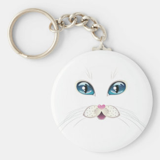 White Cat Face with Blue Eyes 2 Basic Round Button Keychain