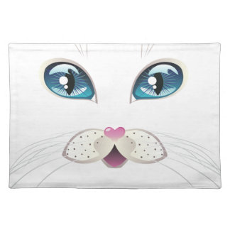 White Cat Face with Blue Eyes 2 Placemat