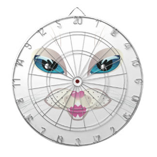 White Cat Face with Blue Eyes 4 Dart Boards