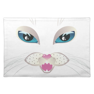 White Cat Face with Blue Eyes 4 Placemat