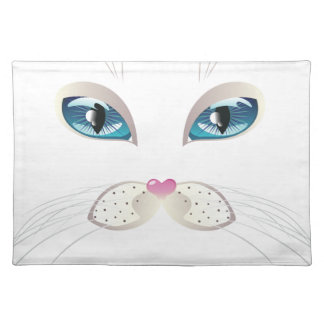 White Cat Face with Blue Eyes Placemat
