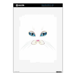 White Cat Face with Blue Eyes Skin For iPad 2