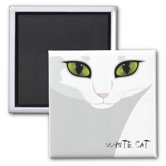 White Cat Face with Eye Color of Your Choice 2 Inch Square Magnet