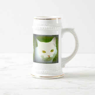 white cat faces beer stein