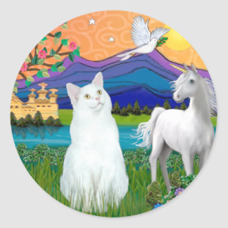 White Cat - Fantasy Land Classic Round Sticker
