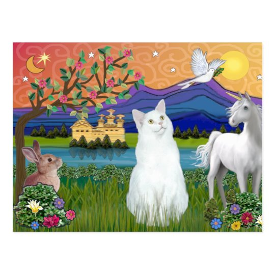 White Cat - Fantasy Land Postcard
