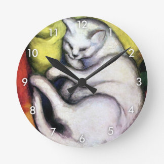 White cat, Franz Marc Round Clock