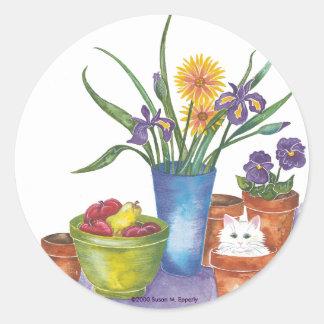 "White Cat Fruit Flowers Watercolor ""Liliana"" Classic Round Sticker"