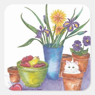 "White Cat Fruit Flowers Watercolor ""Liliana"" Square Sticker"