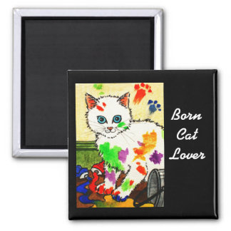 White cat getting paints all over the place magnet