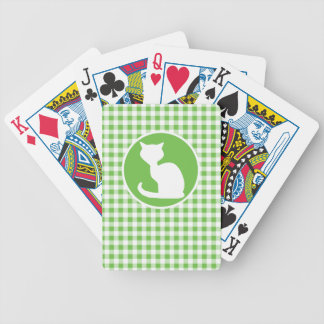 White Cat; Green Gingham Bicycle Playing Cards