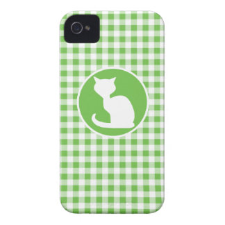 White Cat; Green Gingham iPhone 4 Covers