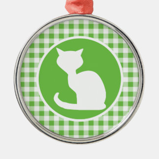 White Cat; Green Gingham Ornaments