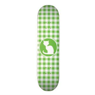 White Cat Green Gingham Skate Board Decks