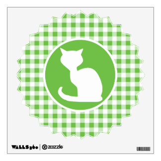 White Cat; Green Gingham Wall Decal