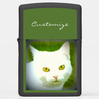 white cat green zippo lighter