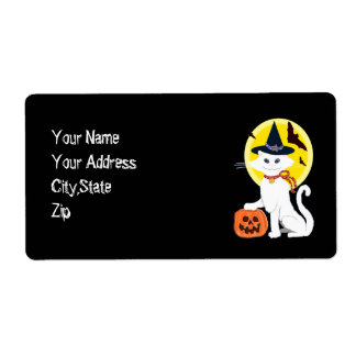 white cat halloween personalized shipping label