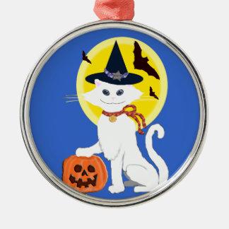 white cat halloween metal ornament