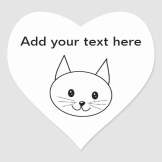 White Cat Heart Sticker