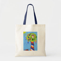 White Cat In A Candy Tree Arts Crafts Shopping Bag at Zazzle