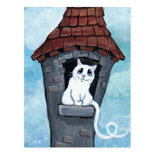 White Cat in a Fairy Tale Tower Postcards