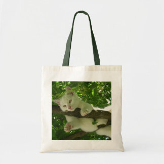 White Cat in a Tree Tote Bag