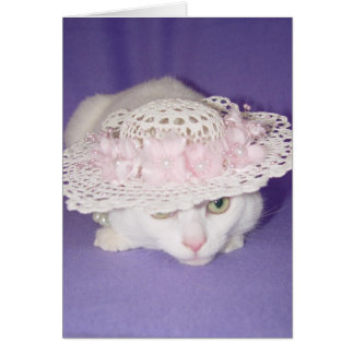 White Cat in Bonnet Card