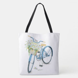 white cat in daisies on bicycle crossbody bag