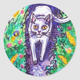 white cat in the garden classic round sticker