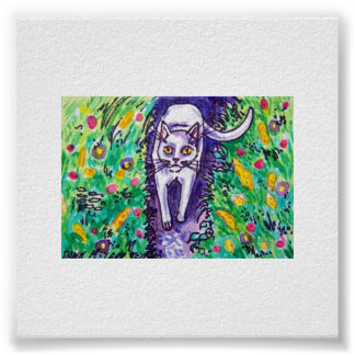 white cat in the garden poster