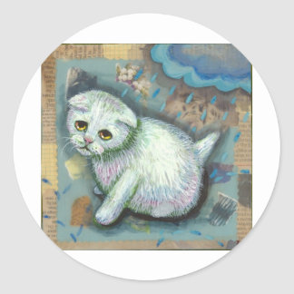 White cat in the rain round stickers
