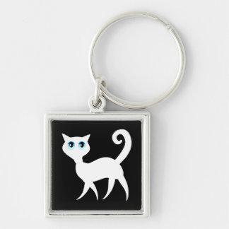 White Cat Keychain