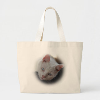 White Cat Large Tote Bag