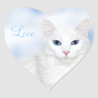 White cat love heart sticker