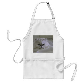 White cat lying on the bed adult apron