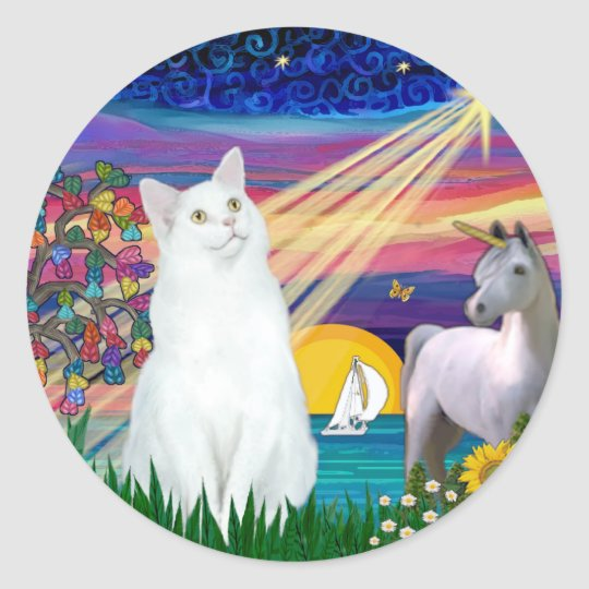 White Cat - Magical Night Classic Round Sticker
