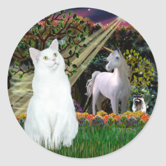 White Cat - Magical Woods Classic Round Sticker