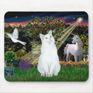 White Cat - Magical Woods Mouse Pad