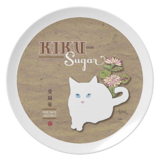 White Cat Melamine Plate
