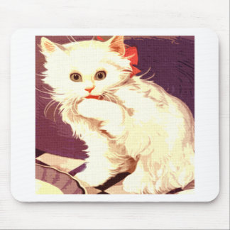 White Cat Miss Priss Mouse Pad