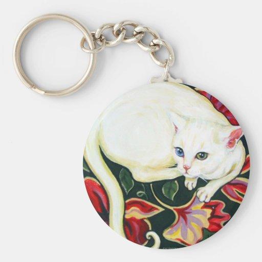 White Cat on a Cushion Basic Round Button Keychain