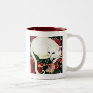 White Cat on a Cushion Two-Tone Mug