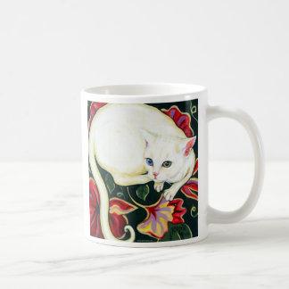 White Cat on a Cushion Classic White Coffee Mug