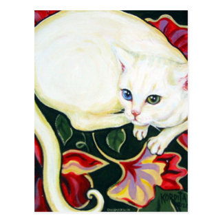 White Cat on a Cushion Post Cards
