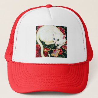 White Cat on a Cushion Trucker Hat