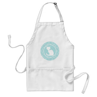 White Cat on Baby Blue Circles Adult Apron