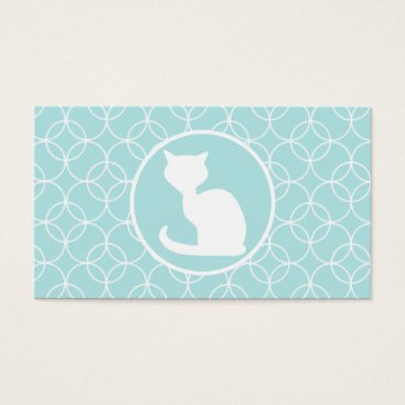 Toddler & Baby themed White Cat on Baby Blue Circles Business Card