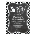 White Cat on Black and White Polka Dots 5x7 Paper Invitation Card