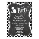 White Cat on Black and White Polka Dots 5x7 Paper Invitation Card